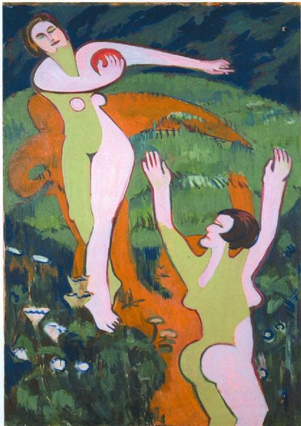 Kirchner, Ernst Ludwig: Women Playing With a Ball. Fine Art Print/Poster. Sizes: A4/A3/A2/A1 (00497)
